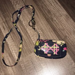 Vera Bradley mini wallet and lanyard
